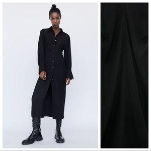 NWOT. Zara Black Midi Dress. Size S.
